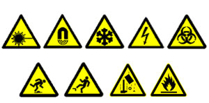 Occupational Health & Safety activities: danger symbols